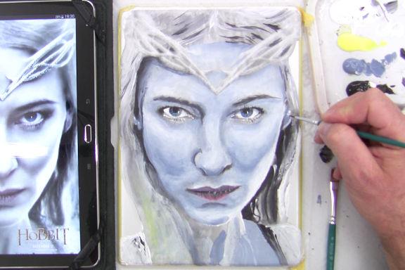 Malvorlage Galadria (Hobbit und Herr der Ringe) auf das iPad ausmalen