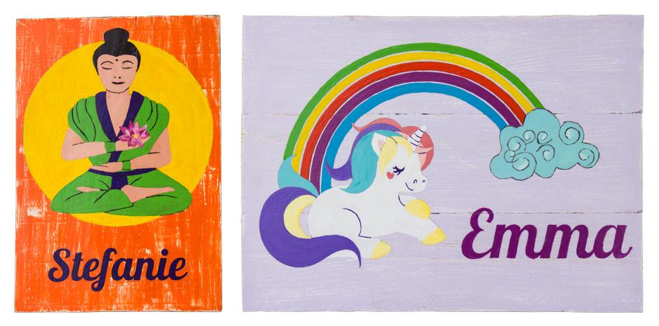 Namensschild für Kinderzimmer oder Yoga-Fan einfach selber gemacht