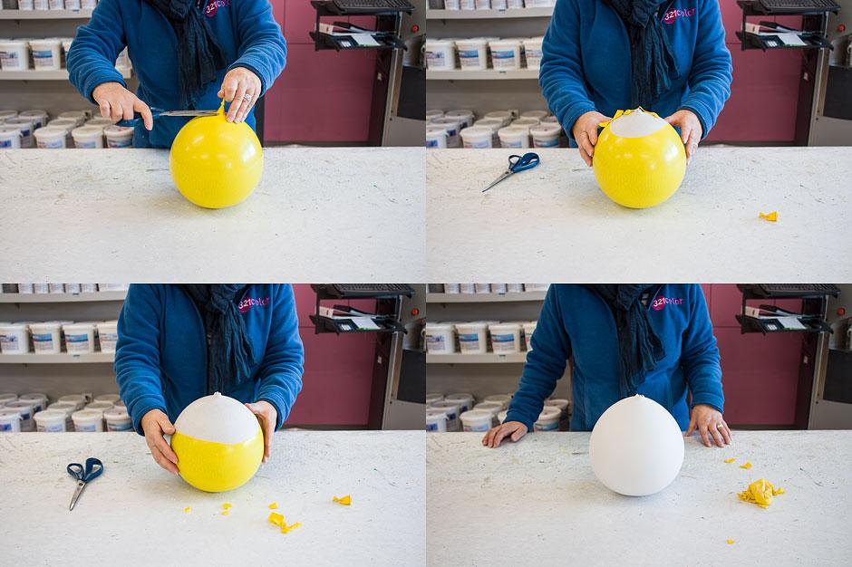 Ballon von der Gipskugel entfernen